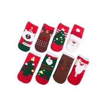 Фотография 4Pairs/lot Christmas Themed Baby socks Winter Christmas Gift Set Girl infant socks Boy kids Thicken Red Cartoon Socks
