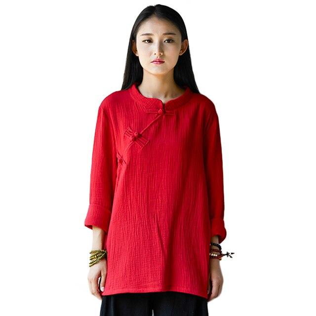 Original Design Long Sleeve Blusas Women Tops Cotton Linen