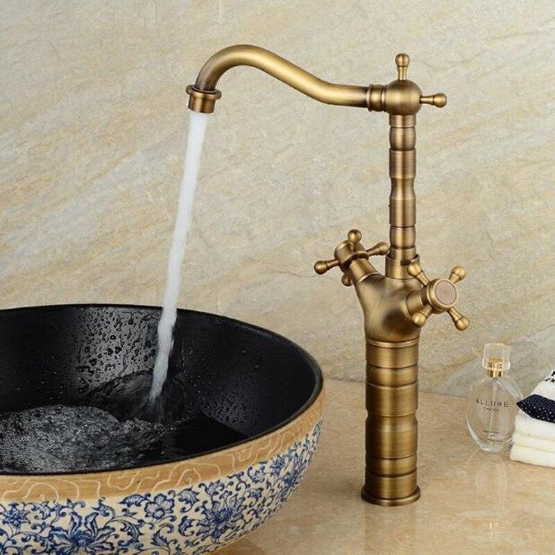Schlechte wasserhahn Antike Kupfer Continental Becken wasserhahn Heißen und kalten Waschbecken oben zähler becken wasserhahn