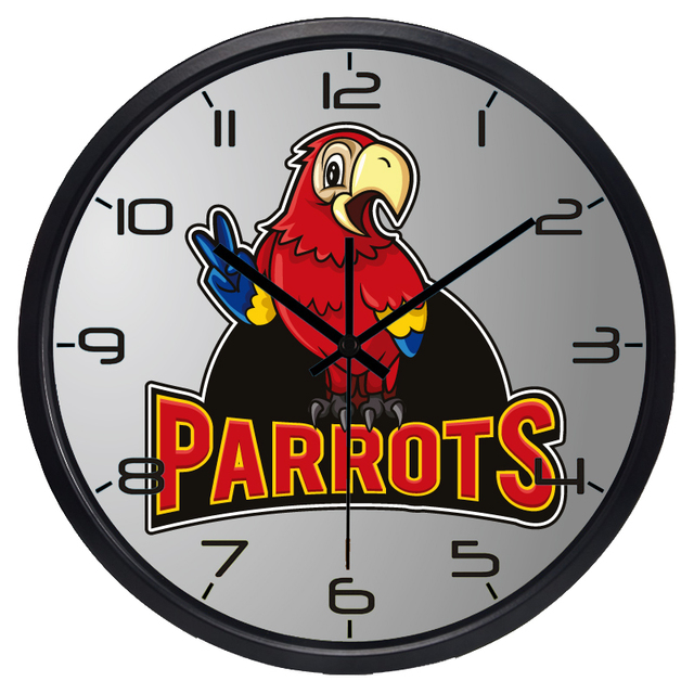 Charming Parrots Yeah Non Ticking Brand BedRoom Wall Clock Funny Glass Classical  Clock