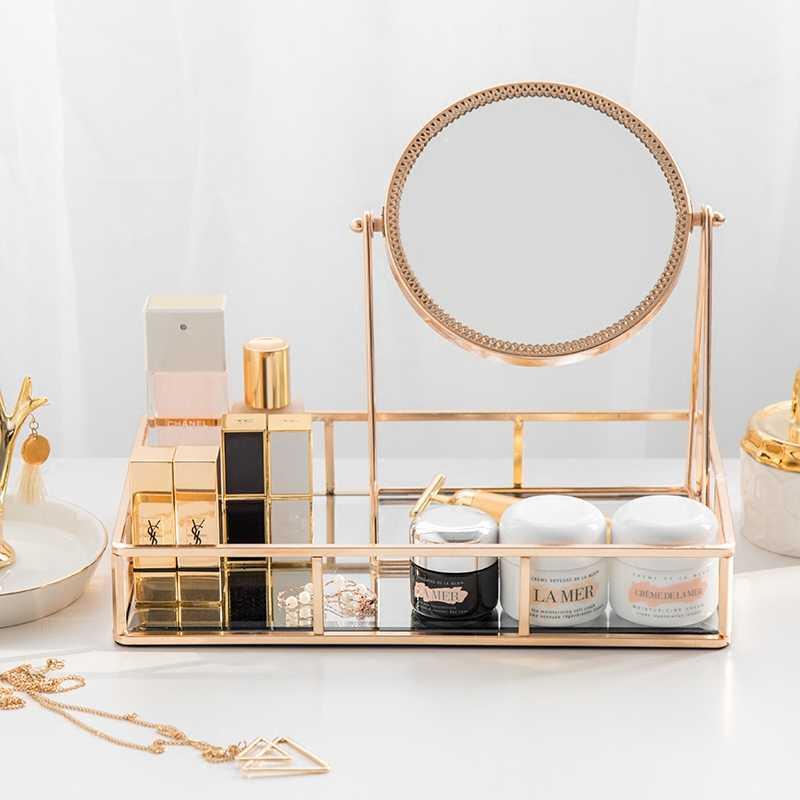 Storage Tray European Mirror Vanity Mirror Light Luxury Gold Retro