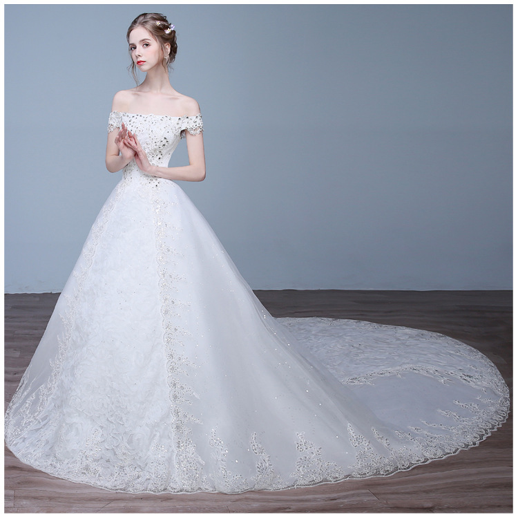 Elegant Tulle Boat Neck Beading Lace Vestidos De Novia Off The Shoulder Sequins Crystal A-line Wedding Dresses Bridal Gowns