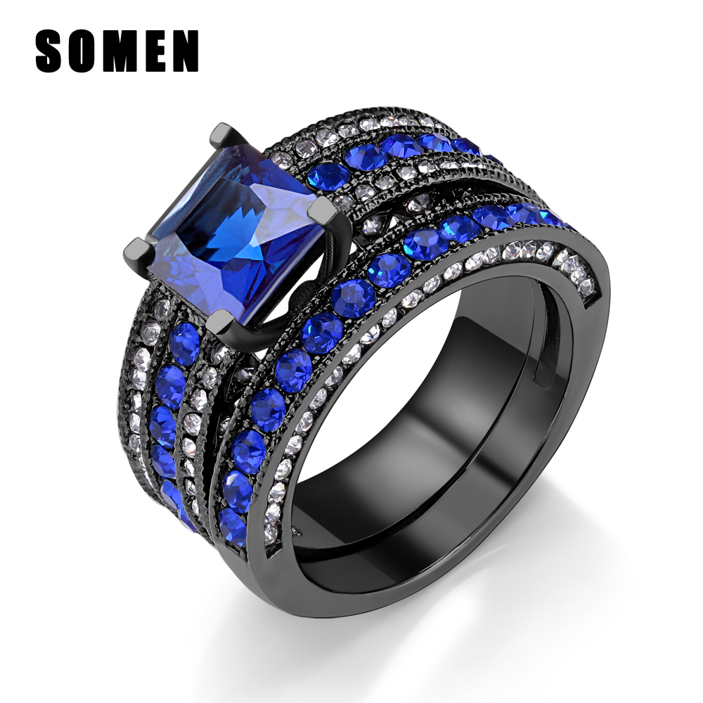Cubic Zirconia Set Bands: Black Ring Set For Women Blue Cubic Zirconia Stainless