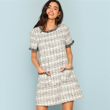 Grey Plaid Frayed Edge Button Detail Tweed Dress Elegant Frill Straight Short Dr