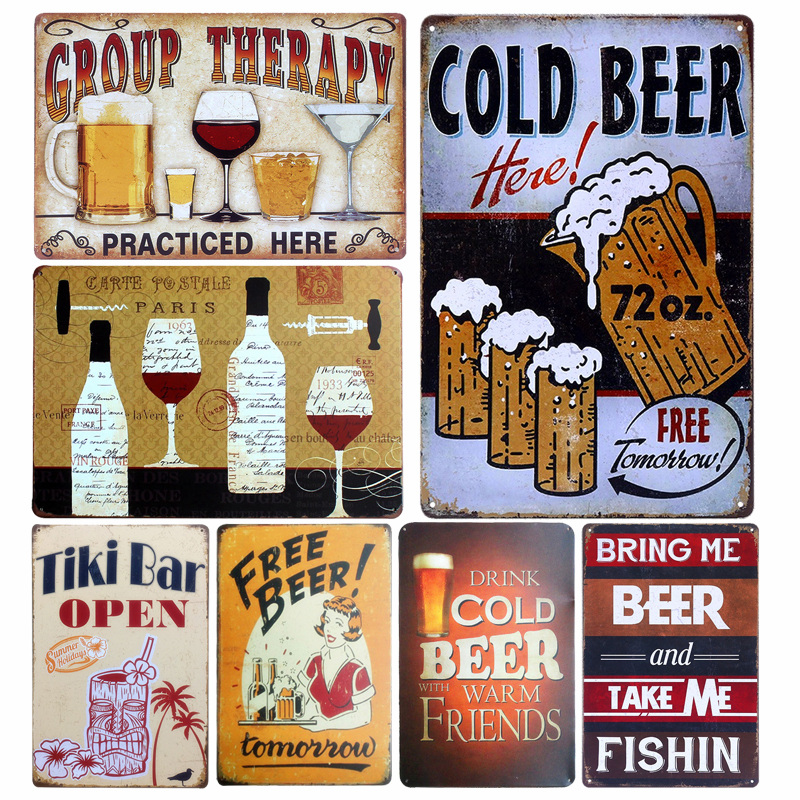 Beer Retro Metal Tin Sign Plaque Vintage GROUP THERAPY Painting Pub Cafe Wall Decor Free Beer Art Poster Bar Decoration A438