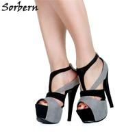 Sorbern Extreme High Heel Women Pumps Platform Open Toe Runway Shoes Black Shoes For Women Pumps Custom Colors New