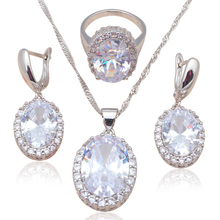 Silver stamped Earring Necklace Pendant rings AAA CZ  Fashion Jewelry Set for party JS586