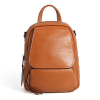 Nesitu High Quality New Fashion Blue Brown Black Grey Red Genuine Leather Small Women Backpacks For