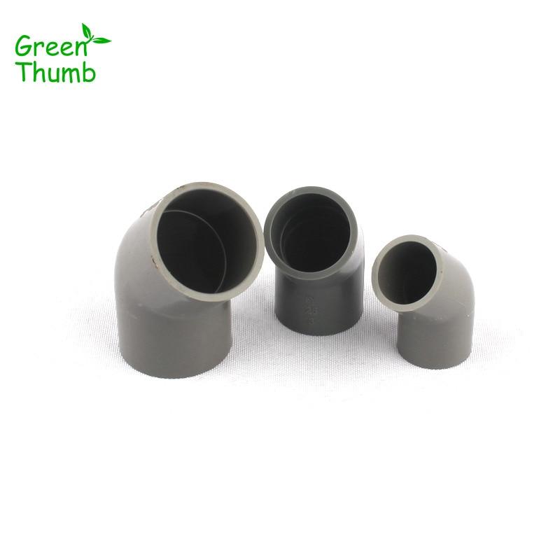 4pcs Inner Diameter 32mm PVC Fittings Grey Plastic 45 Degree Elbow Hose  Connector For Home Garden Irrigation