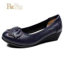 Купить с кэшбэком PEIPAH Spring High Heels Women Shoes Genuine Leather Classic Women's Pumps Solid Casual Wedges Platform Shoes Women Creepers