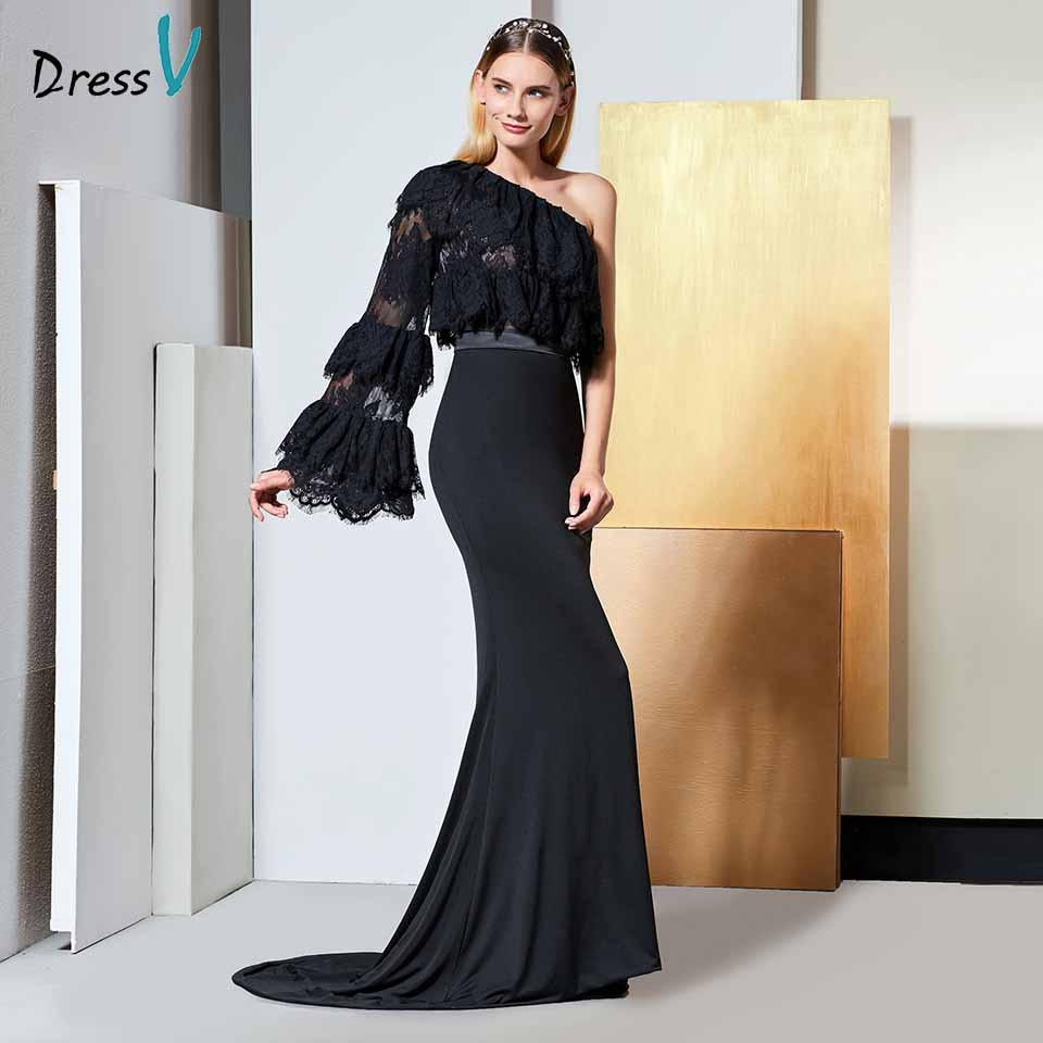 Dressv black   evening     dress   one shoulder long sleeves lace mermaid floor-length wedding party formal   dress     evening     dresses