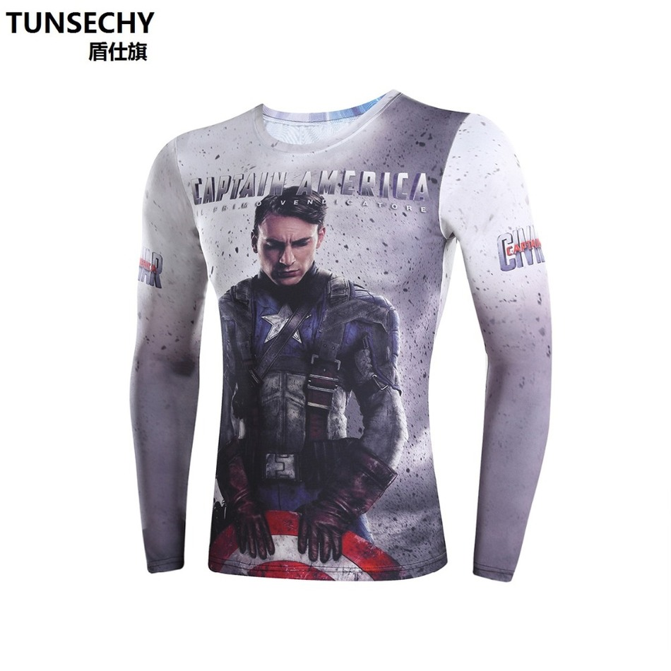 Moto Mens Clothing Sport Fitness t shirt 3D Superman Captain America Long Sleeve tights T Shirt