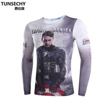 Moto Mens Clothing Sport Fitness t shirt 3D Superman/Captain America Long Sleeve tights T-Shirt Men Crossfit Compression
