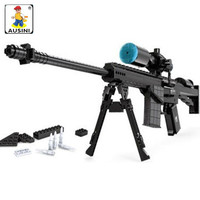 AUSINI 527Pcs Military SWAT Police Sniper Rifle M107 Gun Weapon 1:1 Model Building Blocks Kit Kids Toys guns brinquedos