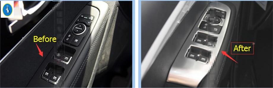 Timaautotrims ABS Perle Chrome Porte Fenêtre Ascenseur Interrupteur Bouton Panneau Cadre Cadre Couverture 4Pcs Pour KIA Sorento 2015 - 2018 Intérieur