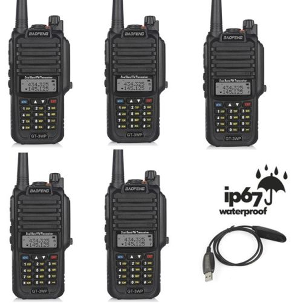 5x Baofeng GT-3WP IP67 Impermeabile VHF/UHF Dual Band Ricetrasmettitore Ham Two Way Radio Walkie Talkie con USB e caricabatteria Da auto Cavo5x Baofeng GT-3WP IP67 Impermeabile VHF/UHF Dual Band Ricetrasmettitore Ham Two Way Radio Walkie Talkie con USB e caricabatteria Da auto Cavo