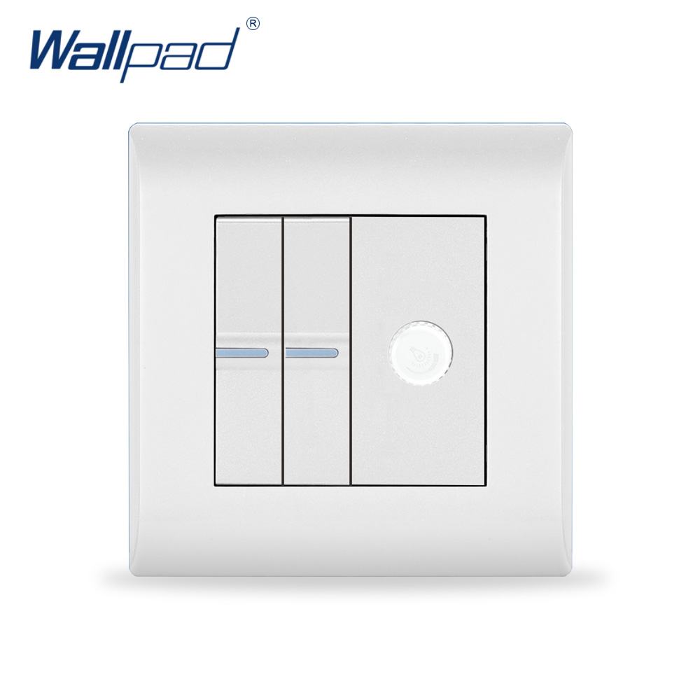 2018 New Arrival 2 Gang & Dimmer Switch Wallpad Luxury White Wall Light Switch 16A AC110~250V UK/EU Standard new wallpad white glass wifi led light eu uk 110 220v intelligent led 2 4 ghz wifi directly control wall light switch ios androd