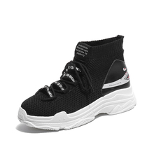2019 spring new black white mesh breathable knitting womens single shoes thick bottom woman flat casual