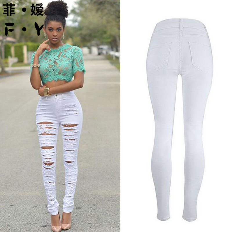 YL Brand 2018 New Women Fashion Spring Summer Sexy Solid Trouser Hole Pocket Pants Hollow Out Bottoms Slim Long Jeans Streetwear
