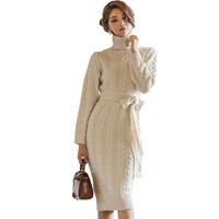 Vintage Winter Turtlenek Sweater Thick Sheath Dress Korean Women Hemp Flowers Long Sleeve Bodycon Knitted Warm Dress With Belt
