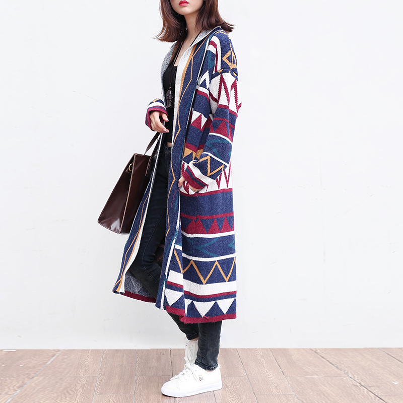 Autumn Guuzyuviz Outwear Print Knitted Sweater Sueter Mujer Vintage Women Loose 2018 Picture Long Winter Color Casual Geometry Cardigan FEqOnFrg8