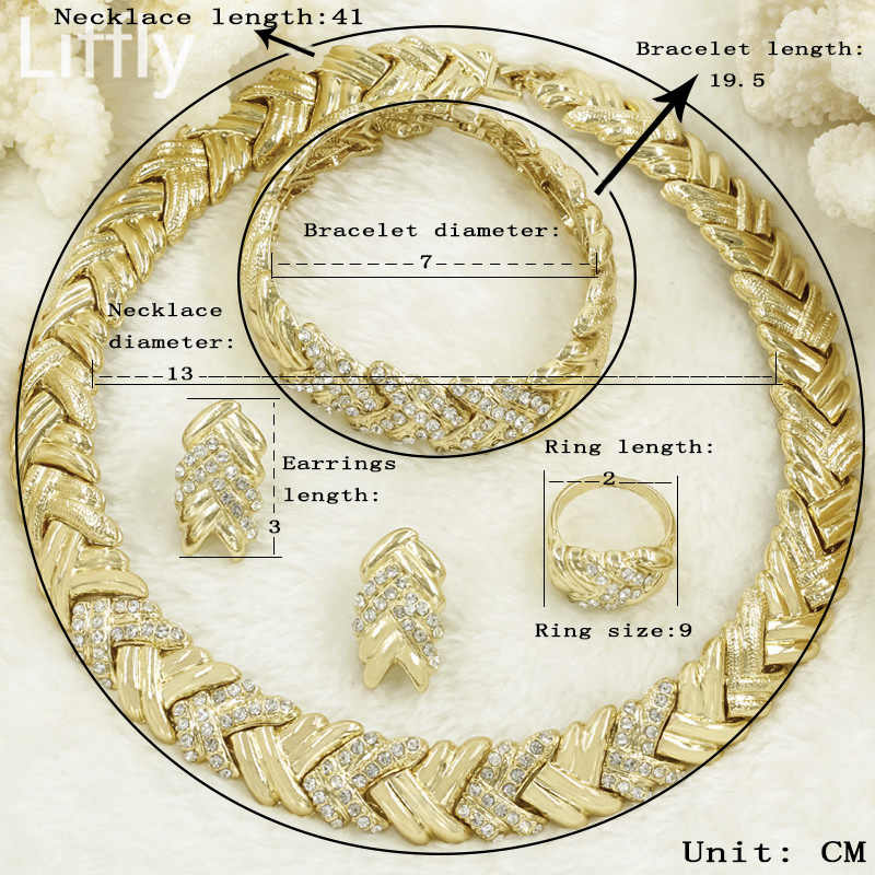 Liffly свадебные Дубай наборы золотые ювелирные Кристалл Цепочки и ожерелья браслет в нигерийском стиле Свадебная вечеринка Для женщин Модные украшения комплект