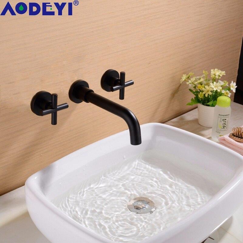 AODEYI Robinets de mélangeur de salle de bain, robinet en laiton massif, noir / or brossé