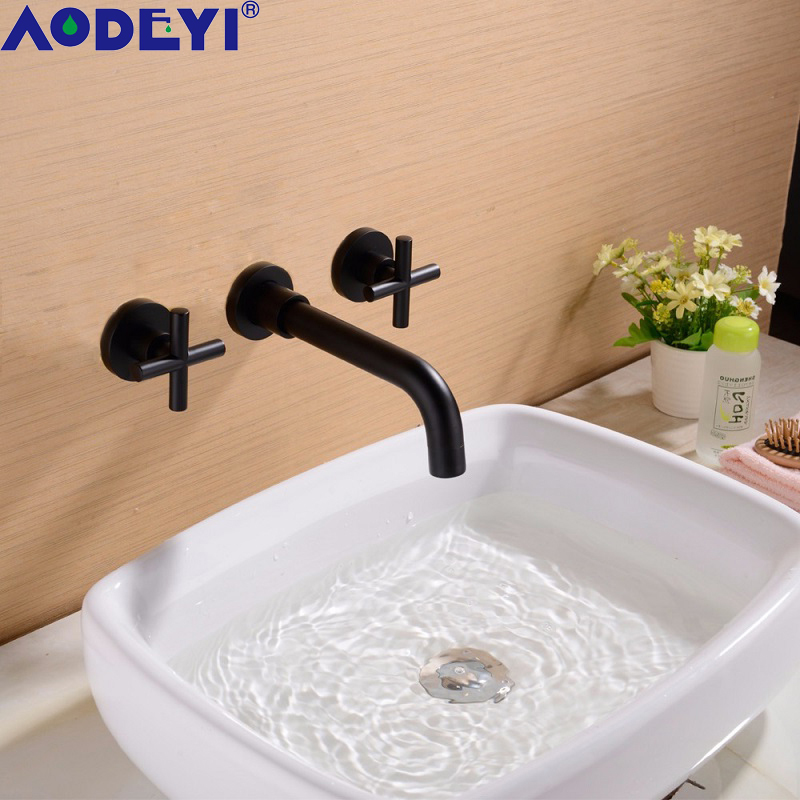 AODEYI Solid Brass Basin Faucet Bathroom Mixer Taps, Black/ Brushed Gold 2 Cross Handle Sink Taps 12 052