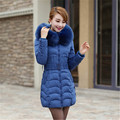 Women Medium Long 8 Colors L~4XL Hooded Wadded Outwear Coat 2015 Winter New Fur Collar Thick Warm Cotton Jacket Parka LW355