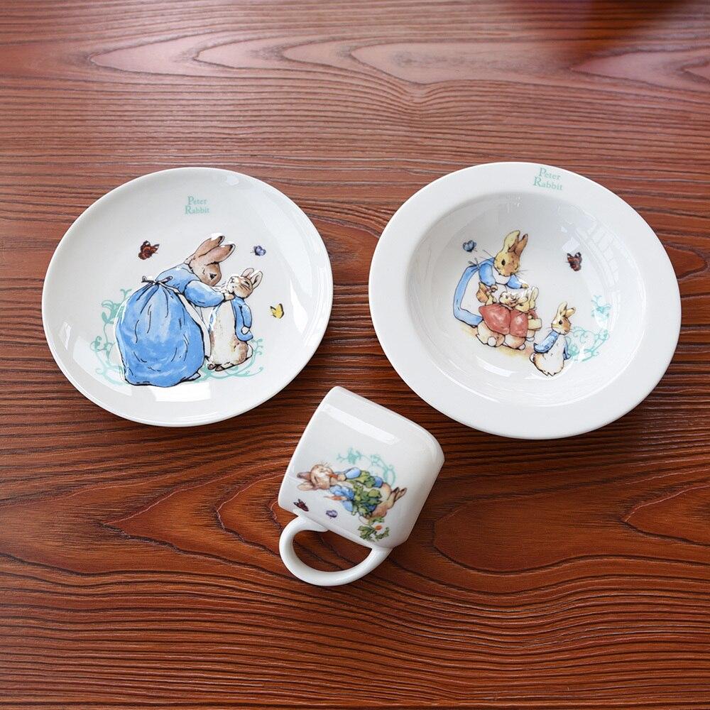 Grande-bretagne 3D pierre lapin soulagement bébé petit déjeuner vaisselle ensemble assiette à soupe dîner plat tasse enfants couverts Kits pour enfants cadeau boîte