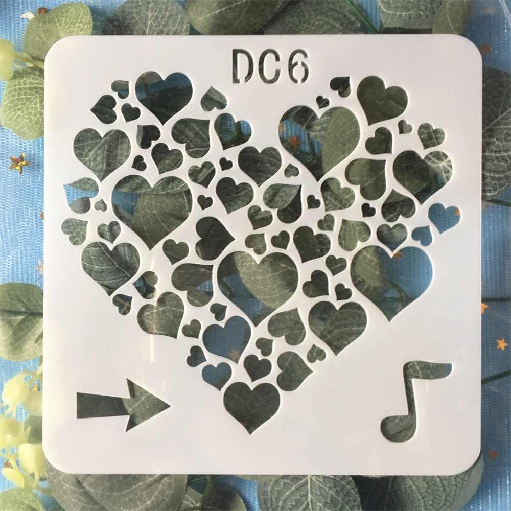 Nouveau 13 cm Note de musique amour coeur bricolage artisanat stratification pochoirs peinture murale Scrapbook timbre gaufrage Album décoratif carte modèle