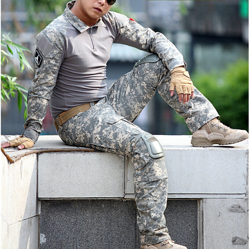 US Army Military Uniform Combat Uniform Tactical Jacket and Pants Set with Knee Pads Camouflage Suit CS Shooting Hunting Clothes spring autumn military camouflage army uniform ghillie suit jacket and trousers hunting clothes with cap face mask for hunting