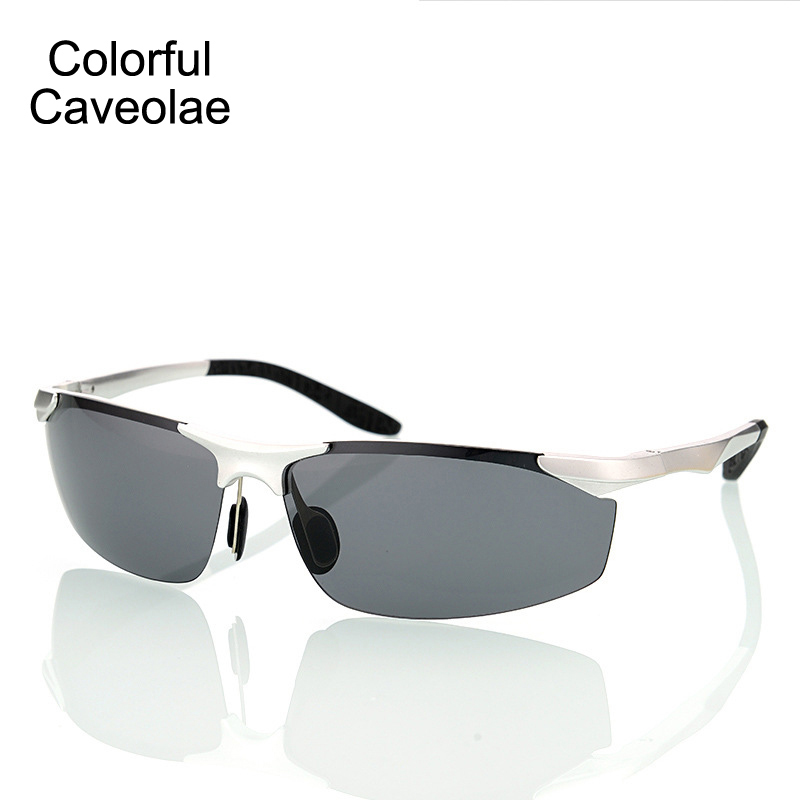 Bunte Caveolae männer Sonnenbrille Polarisierte Gold Halbrahmen ...