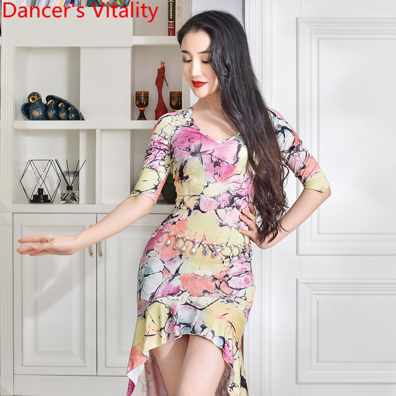 New Belly Dance Practice Clothes Milk Fiber Printing Elegant Competition Long Dress Indian Oriental Dance Performance