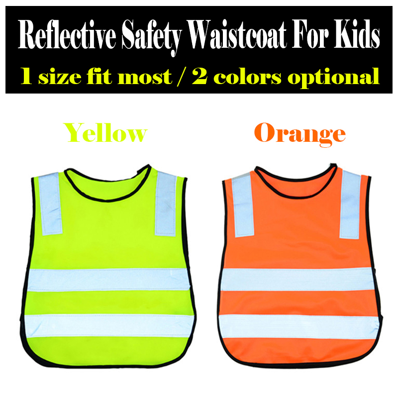 Fluo yellow orange high visibility pupil children kids reflective safety traffic vest for kids go to school cycling running fluorescence yellow high visibility