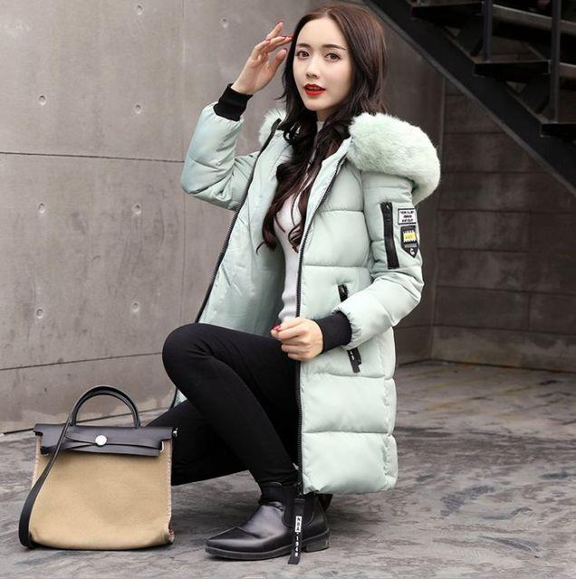2018 winter women hooded coat fur collar thicken warm long jacket female plus size 3XL outerwear parka ladies chaqueta feminino