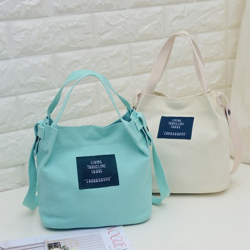 2019 New Women Ladies Totes Canvas Handbags Female Hobos Single Chain Shoulder Bags Solid Color Casual Hasp Bags