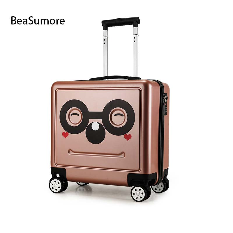 BeaSumore Cute Children Rolling Luggage Spinner Carry On Travel Bag 16 Inch Kids Suitcase Wheels Trolley Password Trunk