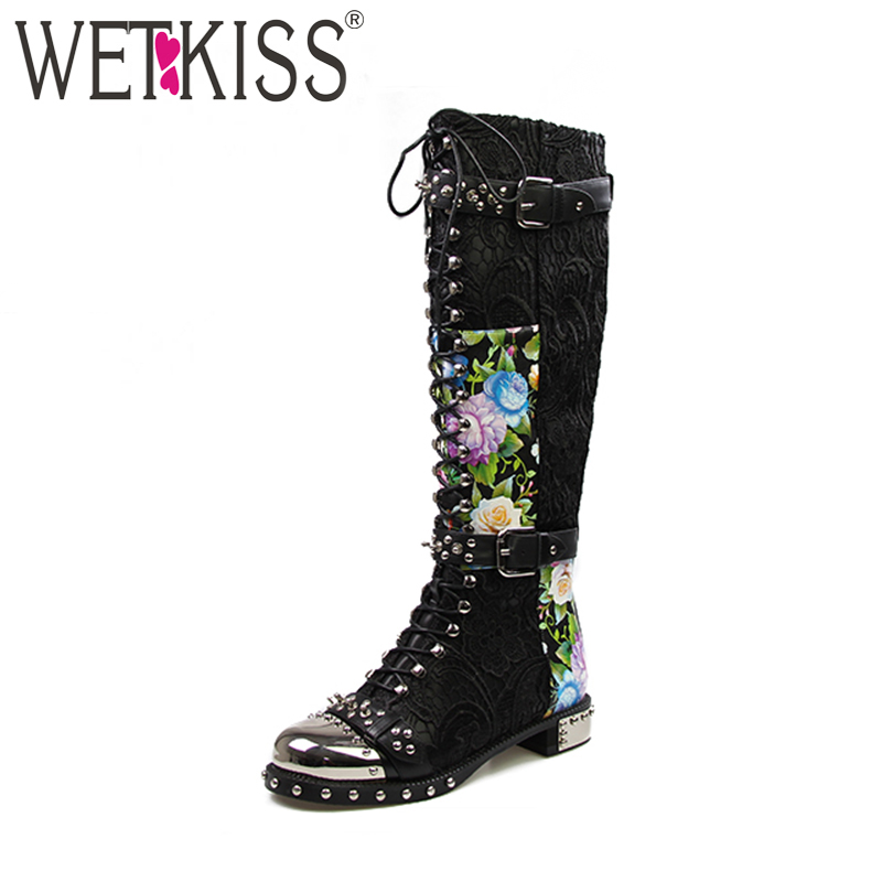 WETKISS Super Fashion Boots for Women Genuine Leather Designer Shoes Woman Knee Boots Rivets Motorcycle Boots Square Heels ZipWETKISS Super Fashion Boots for Women Genuine Leather Designer Shoes Woman Knee Boots Rivets Motorcycle Boots Square Heels Zip