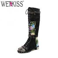 WETKISS Super Mode Stiefel für Frauen Aus Echtem Leder Designer Schuhe Frau Knie Stiefel Nieten Motorrad Stiefel Quadratische Fersen Zip