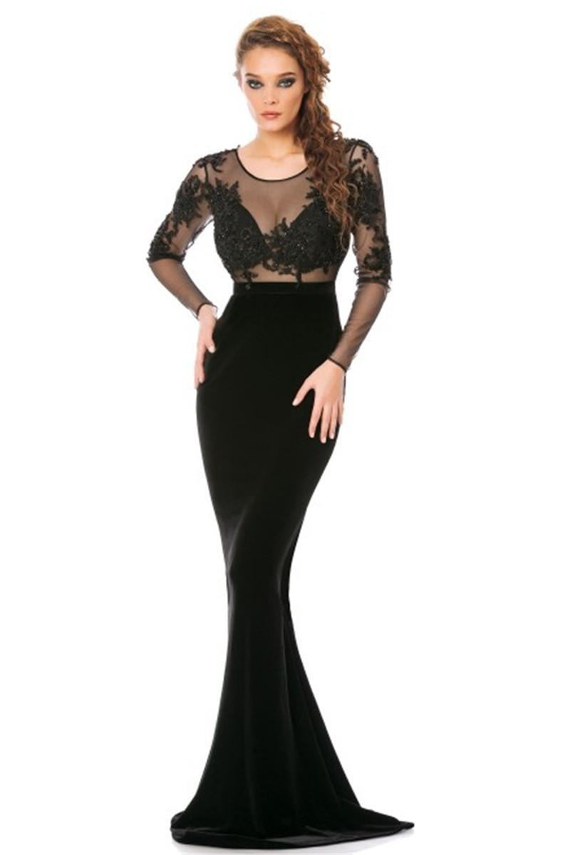 Elegant Beaded Stunning Black Lace