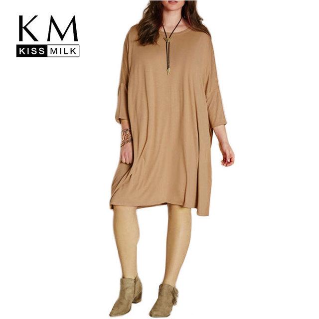 Kissmilk 2016 Mulheres Plus Size Moda Vestido de Três Quartos Solto Blusa lazer Grande Tamanho Grande 3XL 4XL 5XL 6XL One-piece vestido