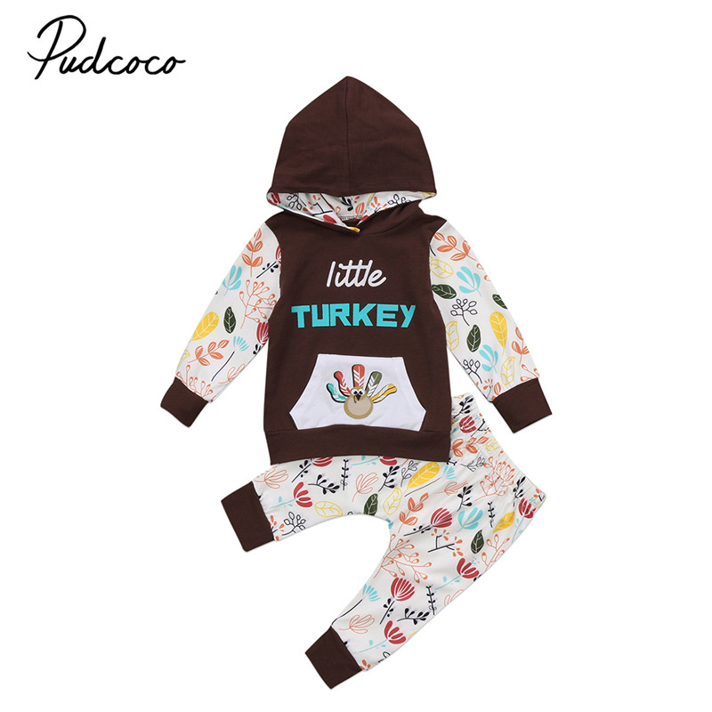 Pudcoco Thanksgiving Infant Baby Boys Girls Outfits Hooded Clothes Rompers Pants Leggings