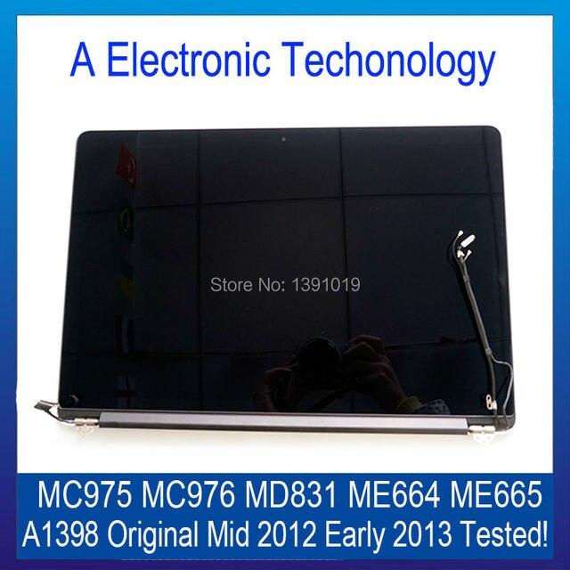 Подлинная НОВЫЙ Retina A1398 Середина 2012 Начале 2013 Года Для Apple Macbook Полный ЖК-Экран Ассамблея MC975 MC976 MD831 ME664 ME665 рабочая