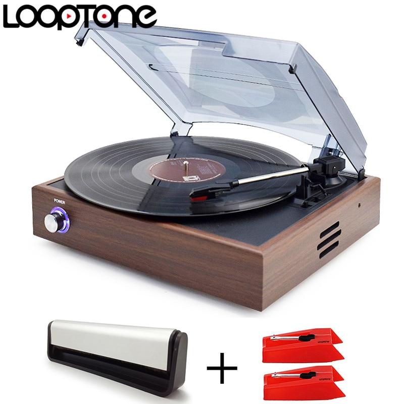 LoopTone Bluetooth Vinyl LP Record Player Kit Turntable Players +2PCS Sapphire Tipped Ceramic Needles Stylus+Cleaning Brush
