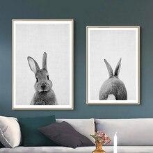 Colorido coelho animal de estimação coelho dos desenhos animados quadros em tela da parede do vintage kraft cartazes revestidos adesivos de parede casa decorativo presente