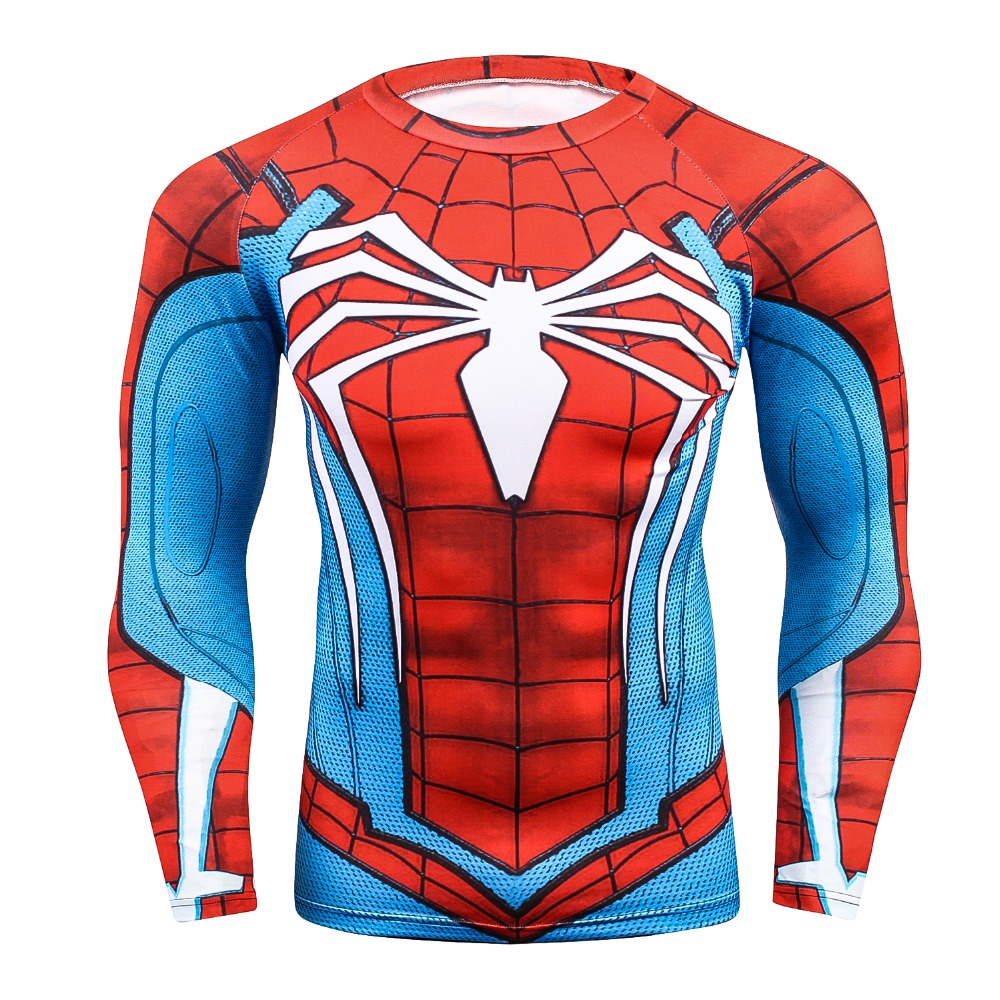 Mens MMA Fitness Rashguard Tight T Shirt Fashion 3D Ironman Long Sleeve Compression T-Shirt Mn Bodybuilding Crossfit Clothing