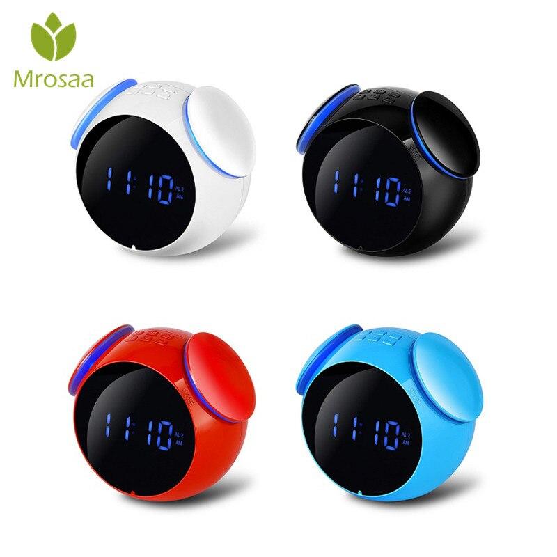 Mrosaa bluetooth haut-parleur numérique réveil musique LED miroir Snooze horloges de Table bureau créatifs horloge Support AUX TF carte