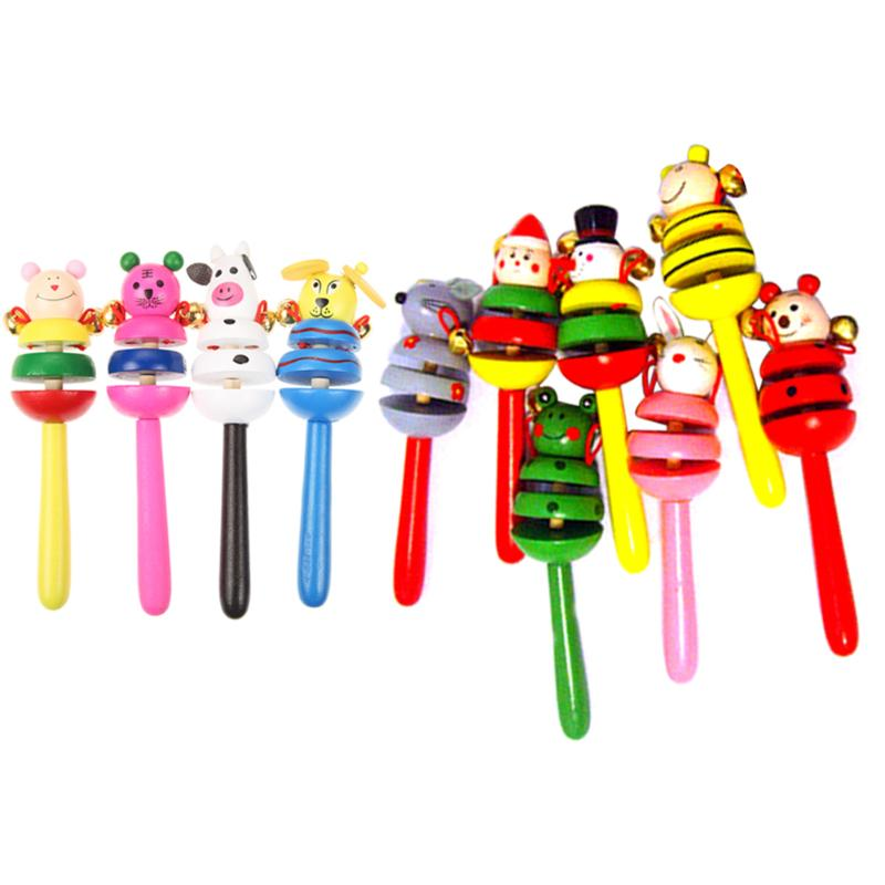 Baby Wooden Rattles Toy Kids Music Hand Grasping Toys Newborn Baby Hand Shaking Bells Toy Activity Bell Stick Shaker Toys Random