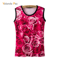 Yolanda Paz 2017 Summer T Shirt Women Sexy Sleeveless Red Roses Flowers Print Casual Off Shoulder